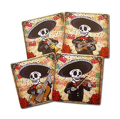 Day of the Dead Mariachi Band Coasters Set of 4 | Dia de los Muertos Home and...