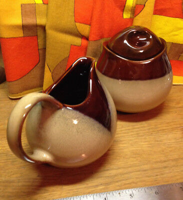 Vintage SANGO Mid Century Nova Brown 4933 Sugar and Creamer Set Mod!