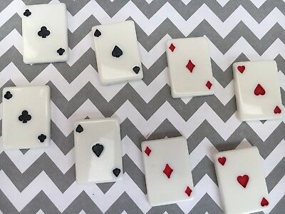 12pc scrapbooking flatback Playing Cards resin Cabochon jewelry bow center
