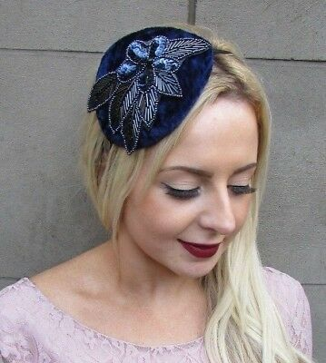 Navy Blue Sequin Velvet Beaded Fascinator Teardrop Races Headband Vintage 4869