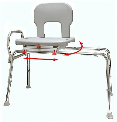 Eagle Health Bariatric Swivel Sliding Bath Shower Transfer Bench Chair 500 lbs