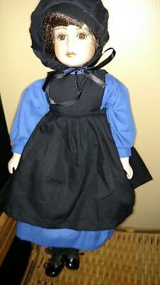 "18"" LOVELY Amish ? Porcelain Doll with Brown Eyes & Hair ? Homesewn Clothes"