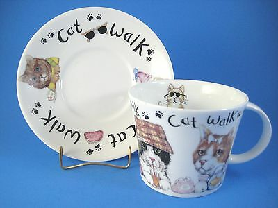 Roy Kirkham Cat Walk Oversize Cup and Saucer Animal Fashions 2003 England