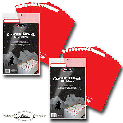 50 Max Pro Red Plastic Comic Book Dividers with Folding Write On Tab