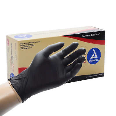 Dynarex Black Nitrile Exam Gloves, Heavy-Duty, Powder Free, Small, Box/100 NEW