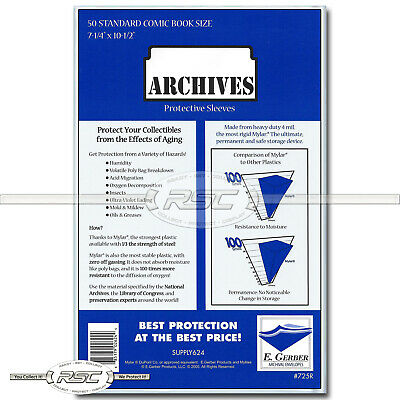50 - Archives Standard 4-Mil Mylar Comic Book Sleeves by E. Gerber - 725R
