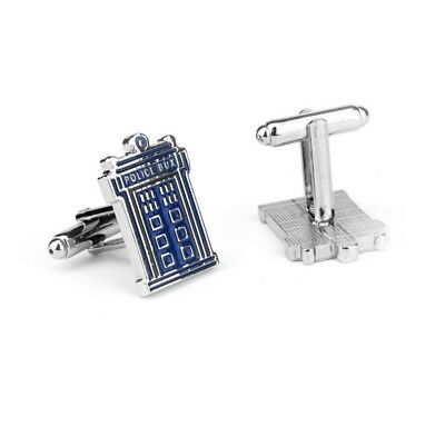 Police Box CUFFLINKS novelty syfy silver plated boxed birthday party gift