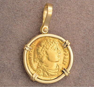 Ancient Roman Gold Solidus Coin, Solid 18kt Gold Pendant Valentinian 364-375 A.D