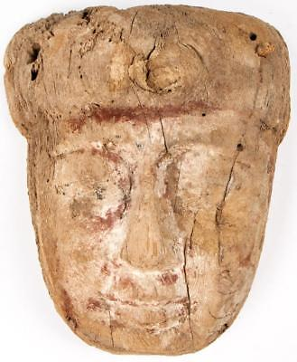 Ancient Egyptian Sarcophagus Mummy Wood Mask c.700 BC