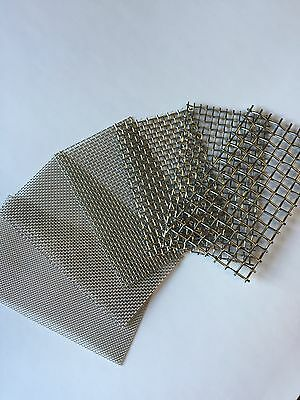 """4pc Stainless Steel Mesh Samples 14,20,30,40 2.5x4"""""""