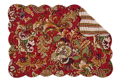 JOCELYN RED Quilted Reversible Placemat by C&F - Green, Gold, Beige, Red
