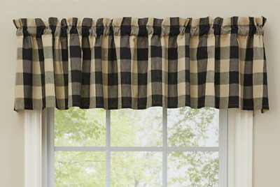 """Park Designs WICKLOW BLACK and Tan Buffalo Check Unlined Window Valance 72""""x14"""""""