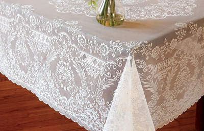 """Heritage Lace FILIGREE WHITE Rectangle Tablecloth  62""""x104"""""""