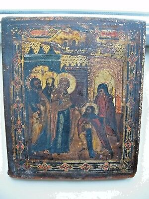 """Antique 19c  Hand Painted Wood Icon """"the apparition of the Theotokos to Sergius"""""""