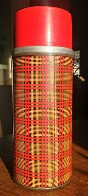 Vintage Retro 70s Plaid Aladdin Thermos 1 Quart w Stopper and Cup