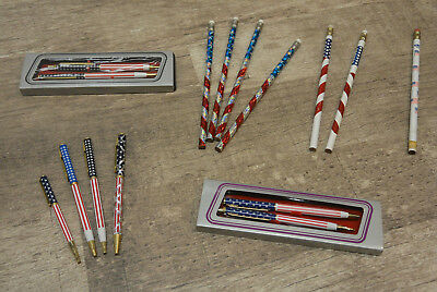 Patriotic Pens & Mechanical Pencils Lot American Flag Stars Red White and Blue
