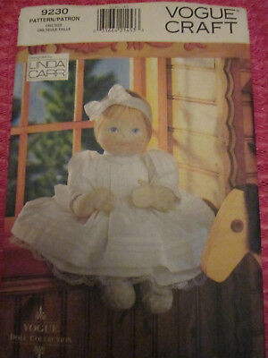 """VOGUE 9230 15"""" STUFFED RAG BABY DOLL & CLOTHES OOP Linda Carr PATTERN UNCUT!!"""