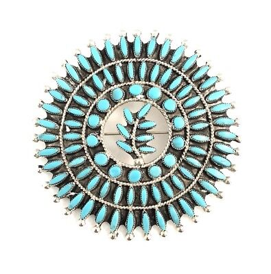 Native American Sterling Silver Needle Point Turquoise Zuni Pin Pendant