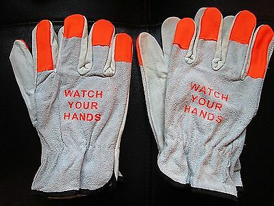 2 pr Leather Work Gloves w/ High Visibility Orange Fingertips Size 2XL NWOT