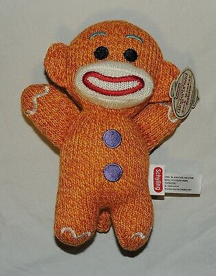 New Sock Monkey Gingerbread Man Christmas Plush Stuffed Animal