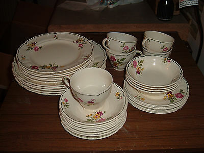 34 piece lot of Marlborough Royal Petal Melrose Pattern Made in Grindley England