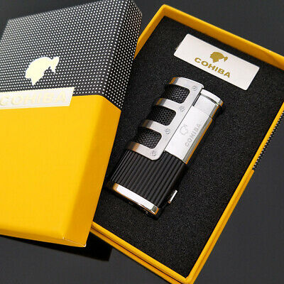 COHIBA Gridding Stripes Style Turbo Lighter Pocket Butane Gas Windproof Triple
