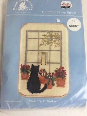 Fond Memories Switch Plate Counted Cross Stitch KIT Cat in the Window  S1401