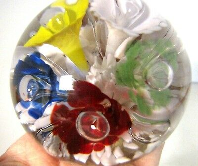 """Vintage Art Glass Paperweight, Floral Bouquet Controlled Bubbles, 4""""x3"""" Handmade"""