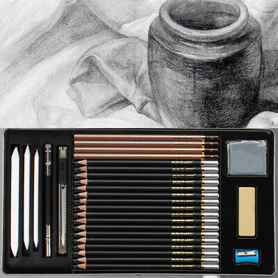 29-Piece 2018 Sketch / Draw Pencil Set,Sketching kit, Graphite Charcoal Students