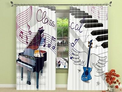 3D Music Score Note Photo Printing Window Curtains Mural Blockout Drapes Fabric