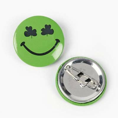 48 Green Shamrock Smiley Face Pins Buttons St Patrick's Day Party Favor