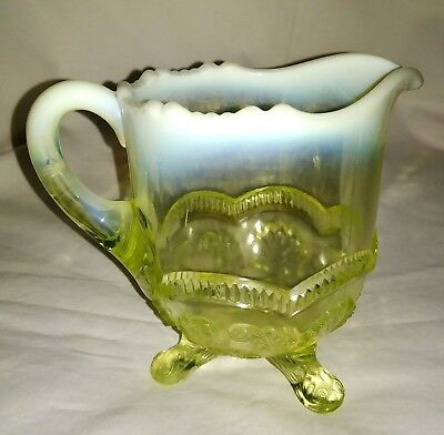 EAPG Model Flint Manilla Vaseline Opalescent Glass Wreath Shell Footed Creamer