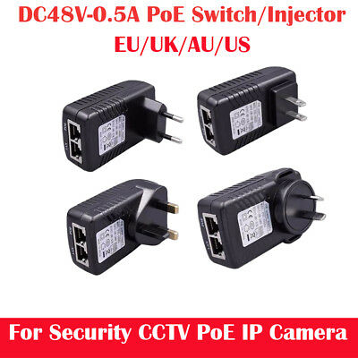 POE Injector Power Supply for Security PoE IP Camera EU/AU/US Plug DC48V 0.5A