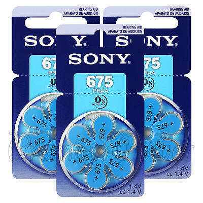 SONY Hearing aid 675 Size batteries Zinc Air PR44 1.4V Mercury free  6- 60 cells