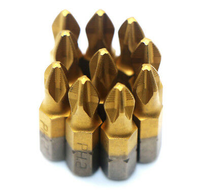 "10Pc 1/4"" Titanium coated Anti Slip Phillips Hex Shank PH2 Screwdriver Bit 25mm"