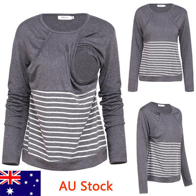 AU Women Striped Maternity Nursing Breastfeeding Top Panelled  Pregnancy Blouse