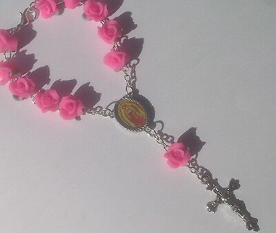 Soft Pink Ceramic Rose Flower mini Rosary with Our Lady of Guadalupe - New