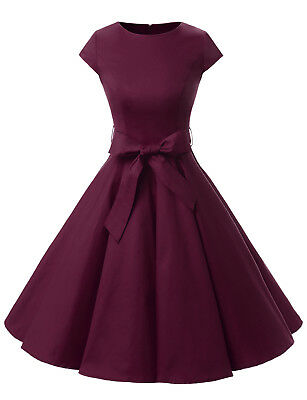 Vintage 50s Women Solid A Line Cap Sleeve Swing Dress with Belt Party Prom Dress