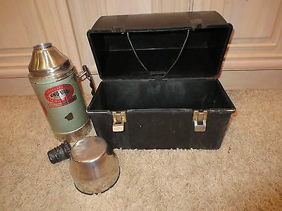 Vintage Unbreakable Uno-Vac Stainless Steel Thermos and Plastic Lunchbox