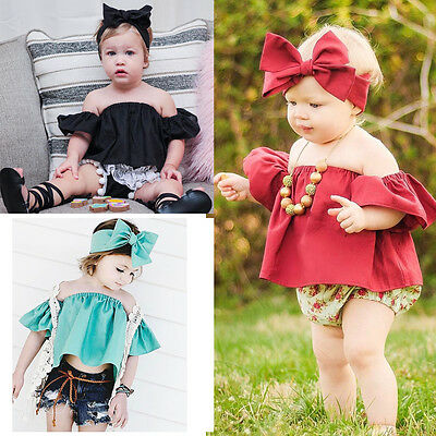 USA 2Pcs Baby Girls Short Sleeve Off Shoulder Tops Girl Hairband Clothes Outfits