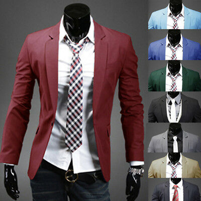 Mens Casual Dress Slim Fit Stylish One button Suit Blazer Jackets Coats 8 Colors