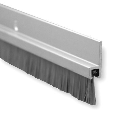 "Pemko Brush Door Bottom Sweep, Clear Anodized Aluminum with 0.625"" Gray Brush"