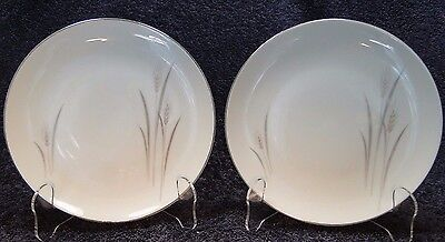 "TWO Fine China of Japan Platinum Wheat Salad Plates 7 5/8"" Set of 2 EXCELLENT"