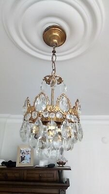 Antique French Style Brass & Crystals small Chandelier from 1970's