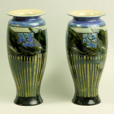 A Pair Of Royal Doulton Art Pottery Vases By Bessie Newbury C.1910