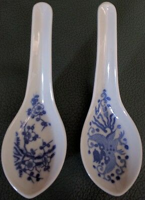 2 Oriental Asian Blue and White Ceramic Spoons Ceramic Used