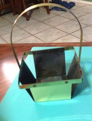 Vintage Woven Brass Basket with Handle Planter Decor Easter