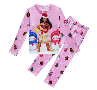2018 2-Piece Childrens Kids Girls Moana Maui Snowflake Pajama Set  O50