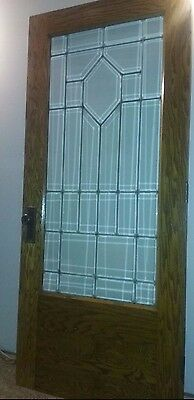 Solid Oak Leaded and Beveled Glass Door