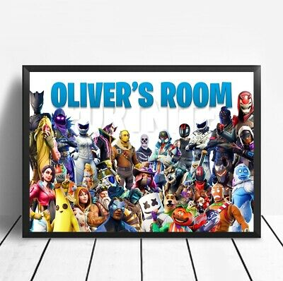 Fortnite PERSONALISED Poster Print Children's Bedroom Sign S 9 8  NAME TAG A4 UK